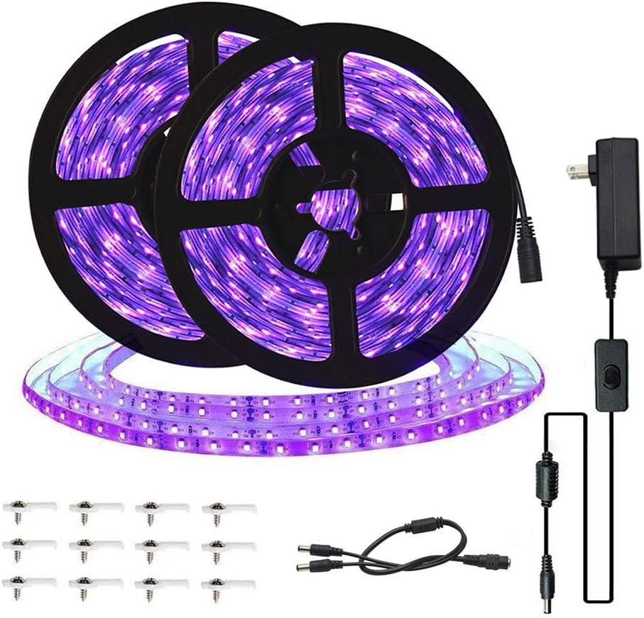 UV Ultra Violet Black Light Lamp LED Water Proof Strip+12v adaptor AC or DC plug