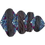 4pcs/lot Reusable Washable Waterproof Bamboo Charcoal Cloth Menstrual Sanitary Maternity Mama Pads (WSDA2)