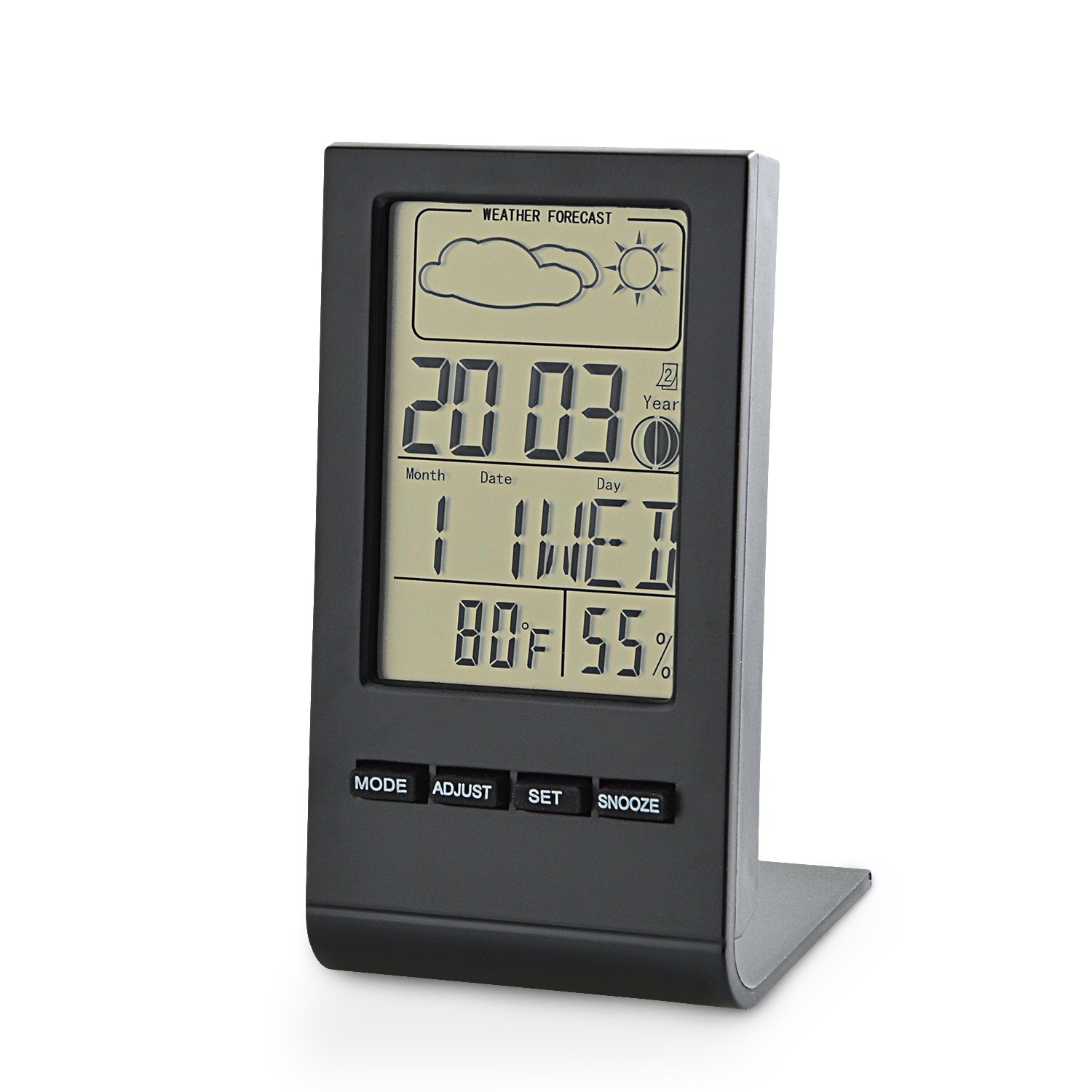 Neuftech Wireless Digital Weather Station Temperature Hygrometer Humidity Thermometer Monitor for Indoor Outdoor with Weather Forecast, Alarm Clock, Calendar, Moon Phase Display- Black EU-Thermo-Weather station BLK