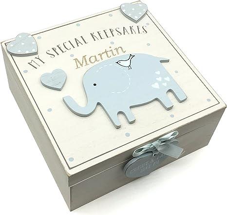 Caja de recuerdos de madera personalizable para bebé estilo ...