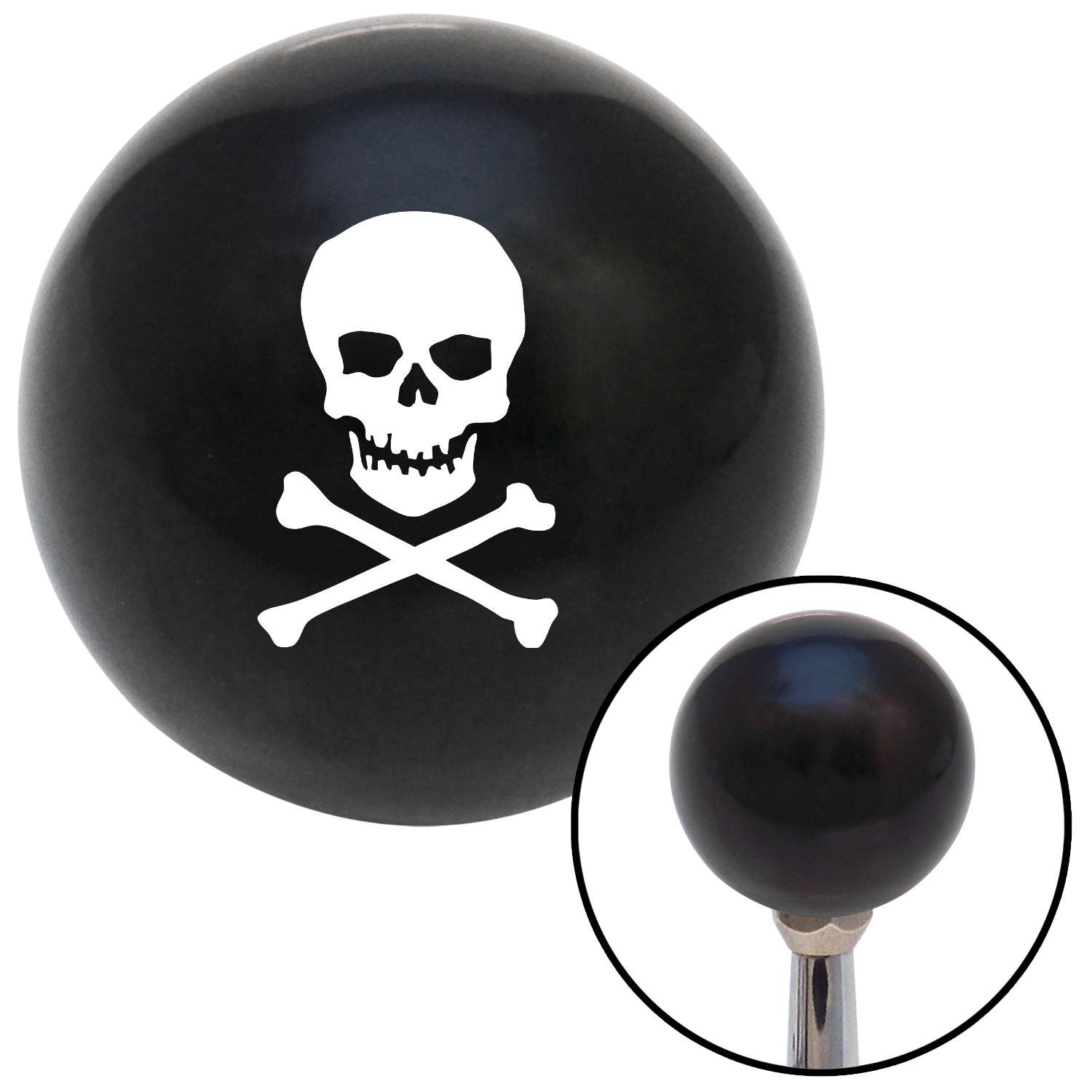American Shifter 107999 Black Shift Knob with M16 x 1.5 Insert White Skull and Bones