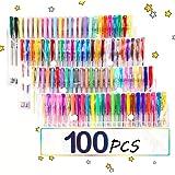 TOPERSUN Bolígrafos 100 Colores Bolígrafos de Gel Incluye Purpurina Metálico Neón y Clásicos para Pintar Dibujar Actividades para colorear