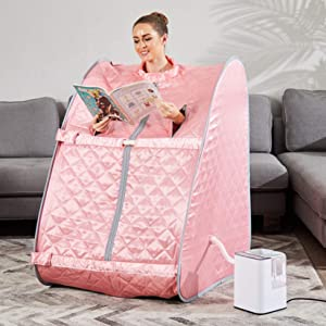 Mauccau Portable Steam Sauna for Home Personal Steam Sauna Spa for Weight Loss Detox Relaxation, 2.5L Sauna Tent with Foldable Chair Timer Remote Control (Pink)