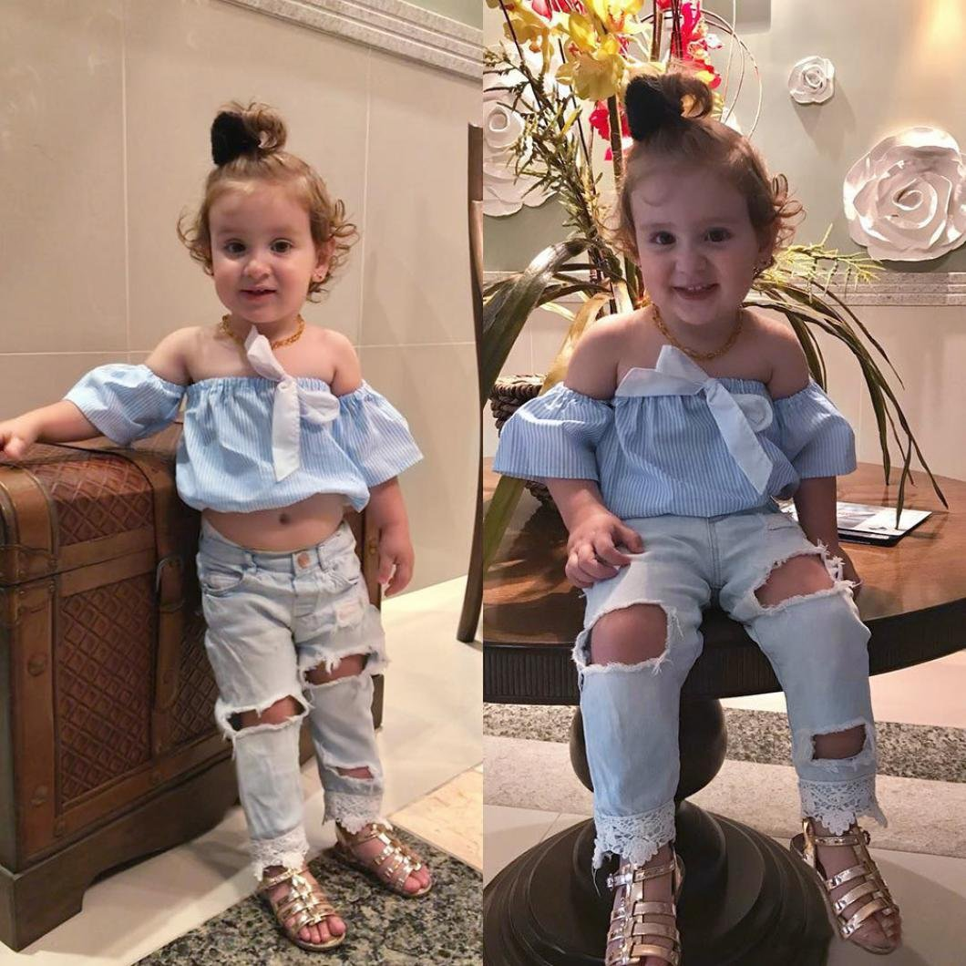 f5a94a09f283 Girls Clothing Set,for 0-5 Years Old,2pcs Toddler Outfits Kids Creative  Stripe Off Shoulder Tops+Denim Pants Baby Summer Clothes: Amazon.co.uk:  Clothing