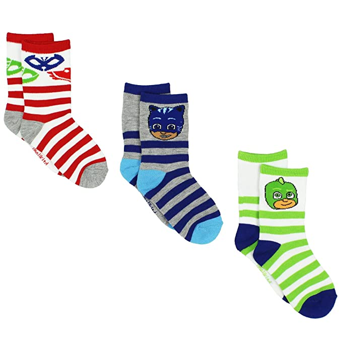 PJ Masks Boys Girls 3 pack Crew Socks (4-6 Toddler (Shoe: