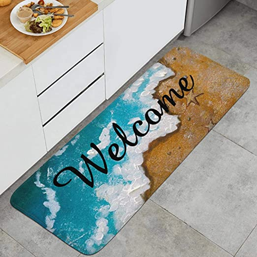 MOYYO Kitchen Mat Cute Christmas Gnomes in Red Hats Kitchen Rug Mat Anti-Fatigue Comfort Floor Mat Non Slip Oil Stain Resistant Easy to Clean Kitchen Rug Bath Rug Carpet for Indoor Outdoor Doormat