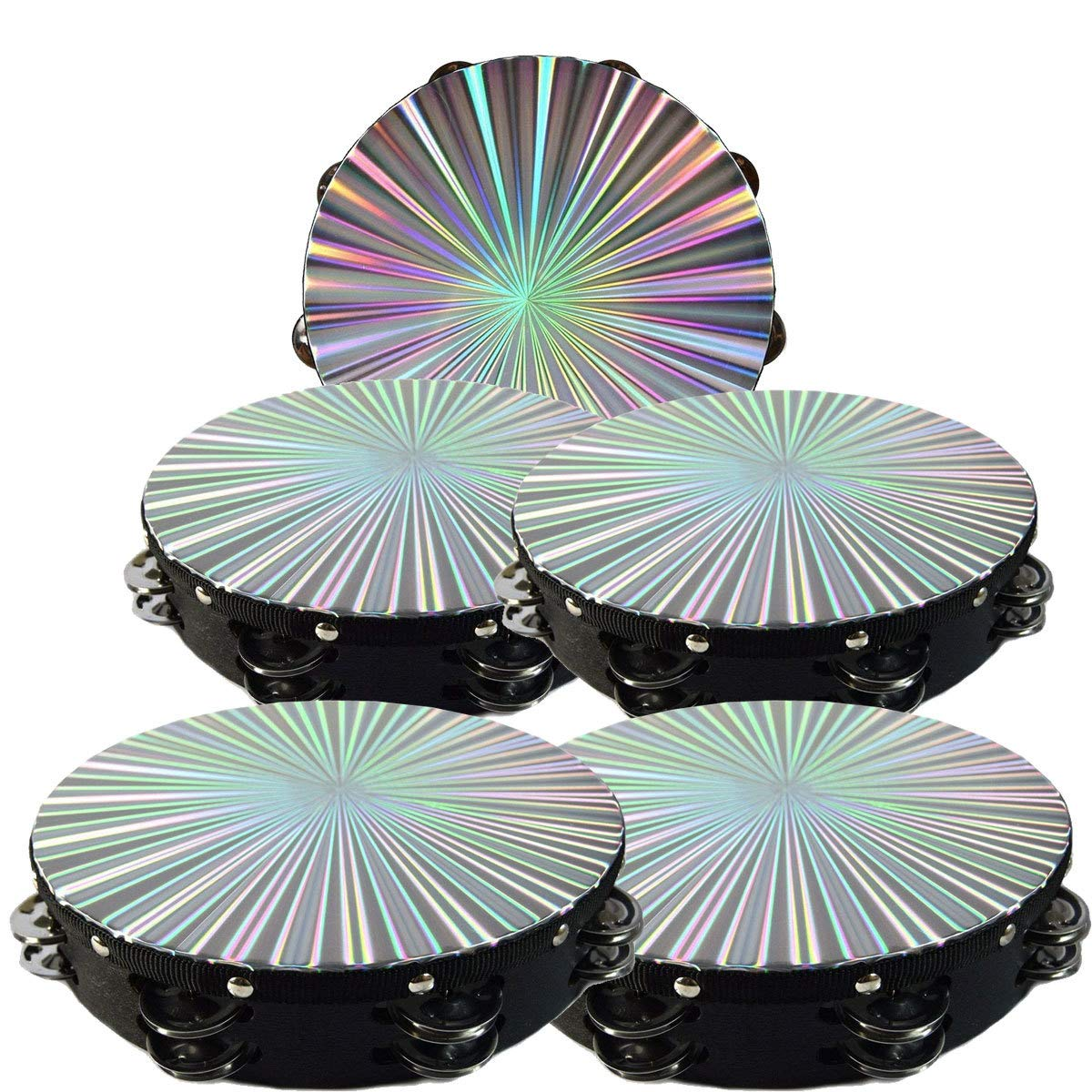 5 Pack 8'' 3D Tambourine Music Double Row Jingle Percussion Instrument Church by Zebra Sound