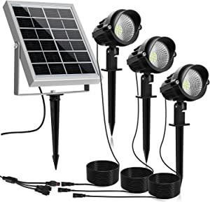 MEIKEE Solar Spot Lights Outdoor, 3 in 1 Solar Landscape Spotlights with Daylight White, IP66 Waterproof Solar Lights Outdoor Spotlight, Auto On/Off Solar Spotlight for Yard Garden Driveway Patio