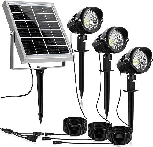 MEIKEE Solar Spot Lights Outdoor, 3 in 1 Solar Landscape Lights with Daylight White, IP66 Waterproof Solar Lights Outdoor Spotlight, Auto On Off Solar Spotlight for Yard Garden Driveway Patio