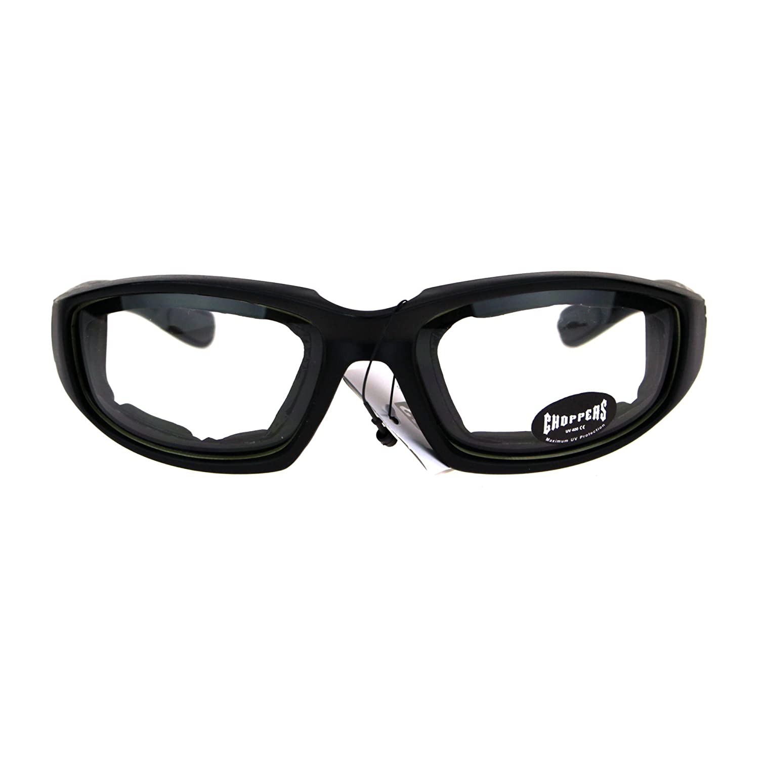 161fd07695f Amazon.com  Choppers Foam Padded Biker Wind Breaker Motorcycle Riding  Sunglasses Clear Lens  Clothing
