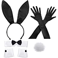 Bunny Costume Set Including Bunny Ear Headband, Collar Bow Tie, Cuffs, Long Black Gloves and Bunny Rabbit Tail Accessory…