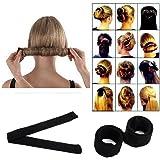 1pc Black Women Hairagami Hair Bun Updo Fold Wrap Snap Magic Styling Tool