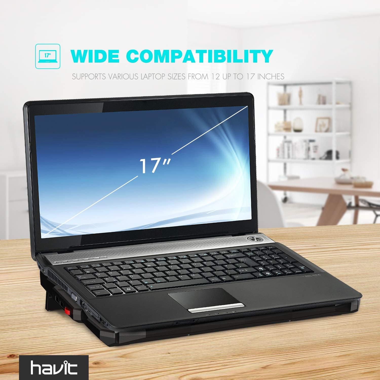 HAVIT 5 Fans Laptop Cooling Pad for 14-17 Inch Laptop, Cooler Pad with LED Light, Dual USB 2.0 Ports, Adjustable Mount Stand (Black) by Havit (Image #7)