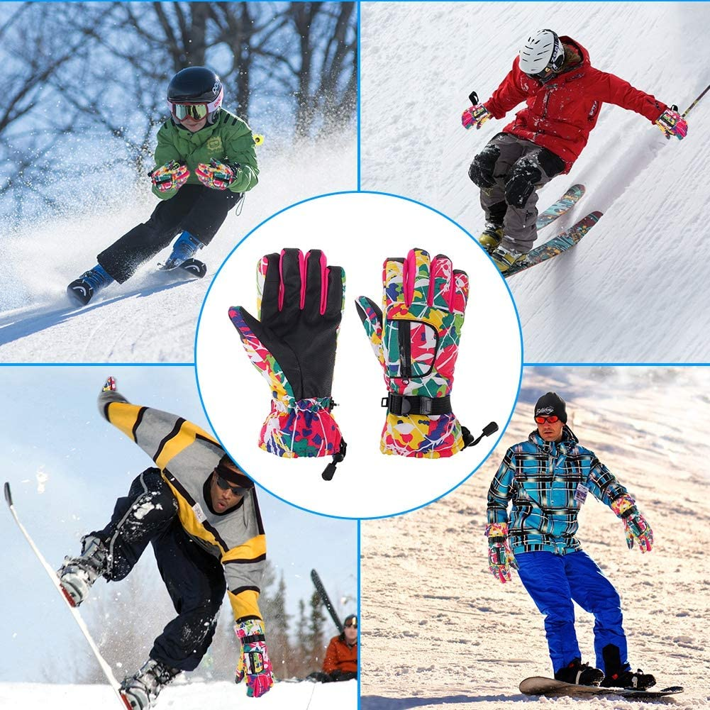 rainday Ski Gloves,Waterproof and Windproof Gloves Thermal Gloves,Anti Slip Warm Snow Gloves for Skiing Snowboarding,Winter gloves for Children,Men and Women