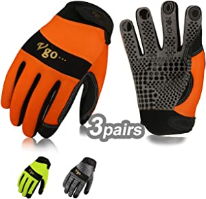 Vgo 3Pairs Work Glove, High Dexterity Synthetic Leather with Silicone for Antislip,Multipurpose(Size XL,3 Color,SL7895)