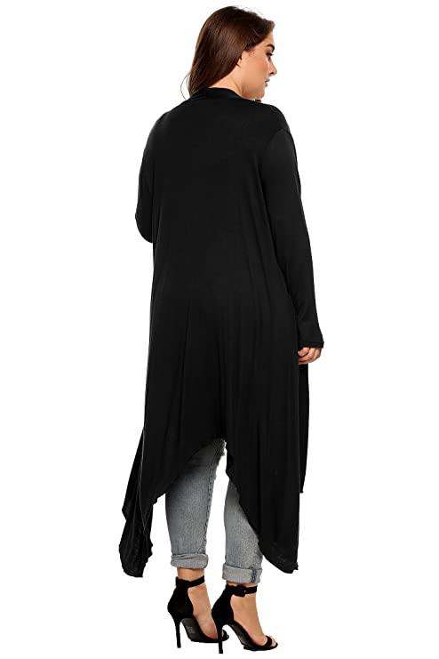 459eaf99c4359 FastDirect Women s Casual Long Sleeve Open Front Draped Waterfall Outwear  Trench Duster Maxi Cardigan Plus Size  Amazon.co.uk  Clothing