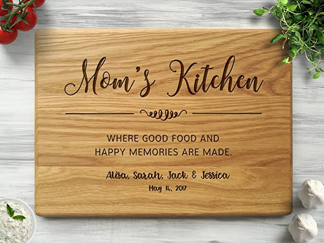 Mothers Day Gift Moms Kitchen Christmas For Mom From Daughter Personalized Cutting Board Custom