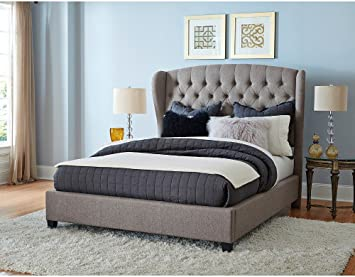 hillsdale bromley upholstered wingback bed queen with bed frame - Wingback Bed Frame
