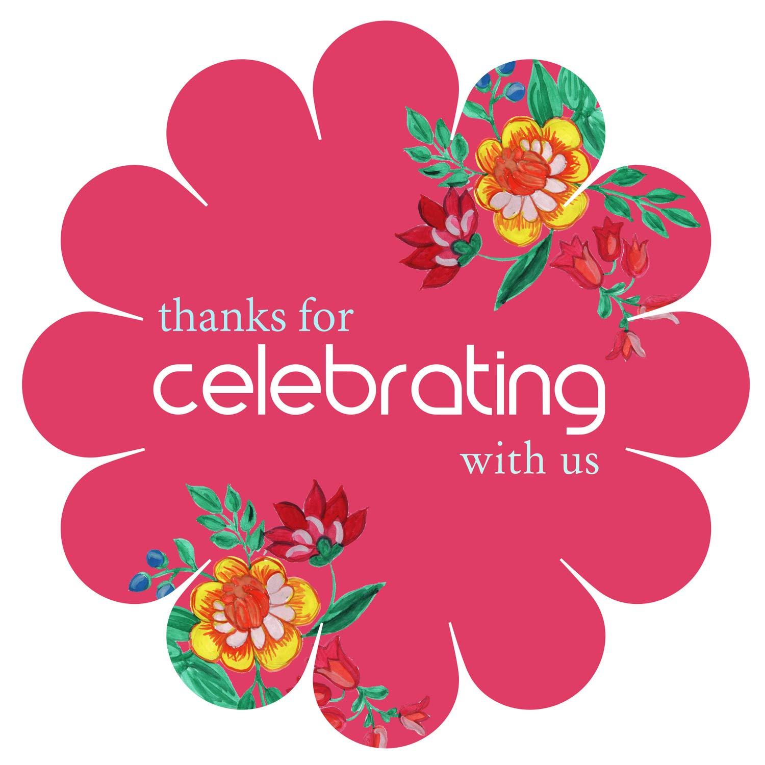 Thanks for Celebrating with us Stickers Seals Labels Stamping 2'' Round Sticker - Pack of 1000, Pastel Pink by PrintValue