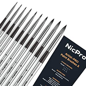 Nicpro 10 PCS Round Paint Brush Set Artist Painting Brushes for Watercolor Acrylic Oil, Art Paintbrush