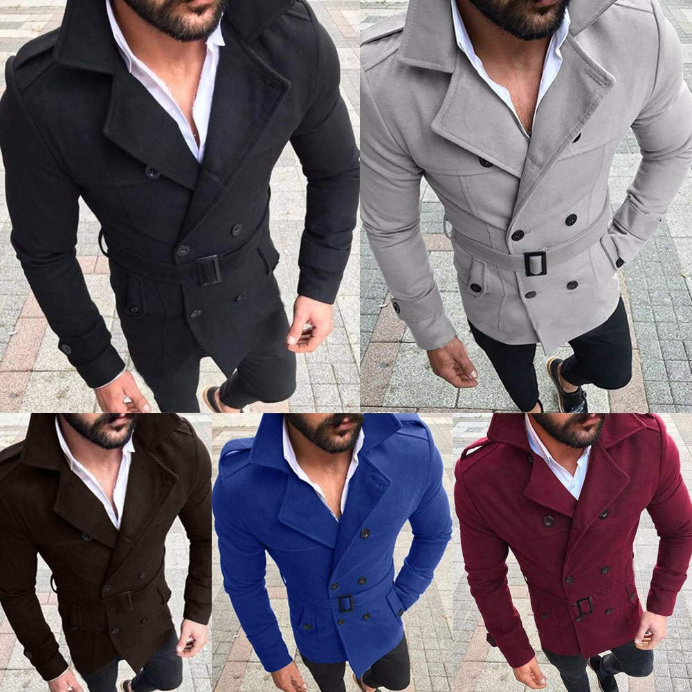 PASATO Classic Mens Autumn Winter Slim Fit Long Sleeve Suit Top Jacket Trench Coat Outwear