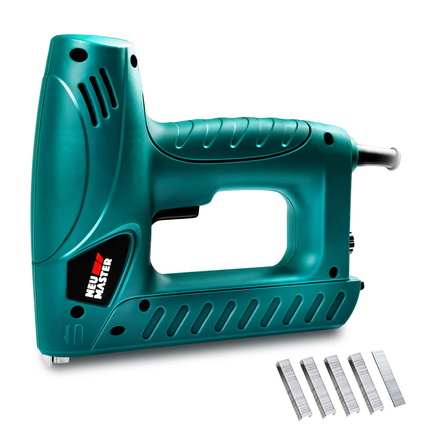 Electric Brad Nailer, NEU MASTER Staple Gun N6013 with Contact Safety and Power Adjustable Knob for Upholstery and Home Improvement, Includes 400pcs Staples and 100pcs Nails
