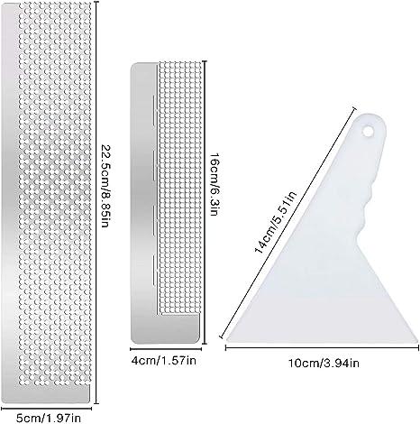 Regla de Acero Inoxidable en Blanco Regla de visualizaci/ón de Diamantes Kit de Herramientas de Taladro Completo Redondo 11cm 216holes Crewell 5D Herramienta de Pintura de Diamantes 140 mm