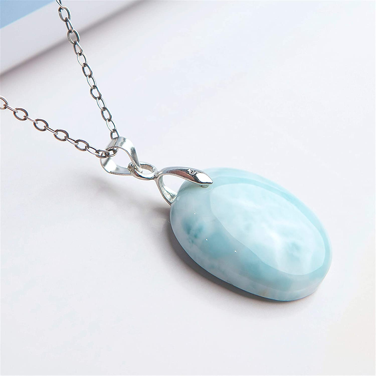 Natural Larimar Gemstone Pendant Fashion Blue Crystal Bead Jewelry