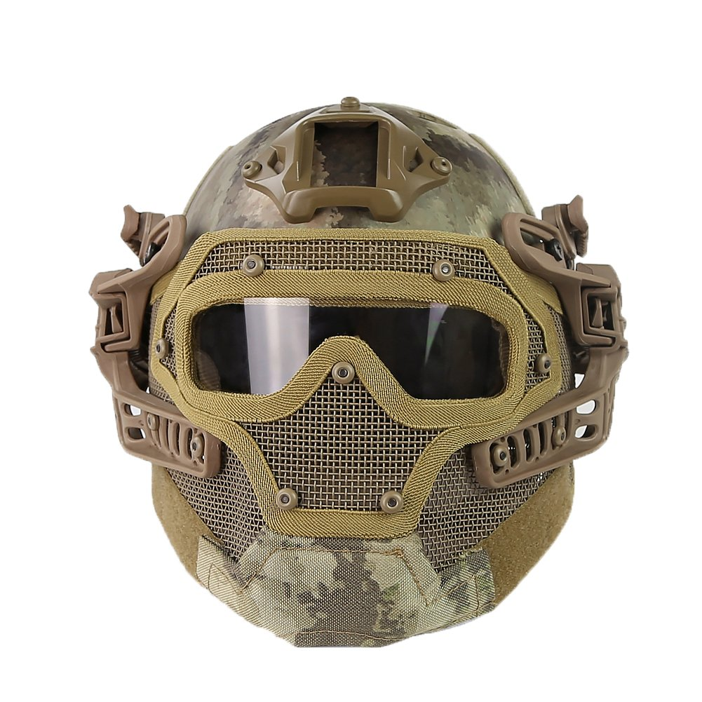 HYOUT Fast Tactical Helmet Combined with Full Mask and Goggles for Airsoft Paintball CS (at) by HYOUT