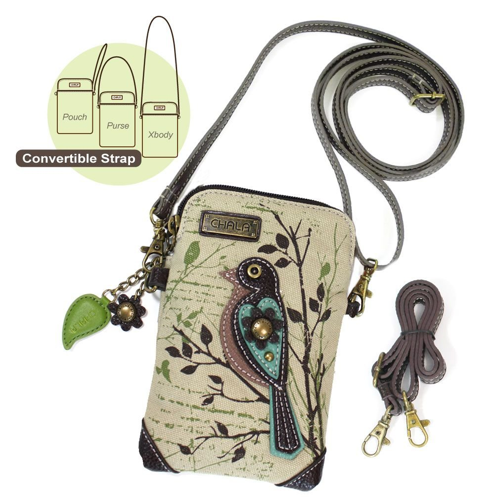 Chala Crossbody Cell Phone Purse - Women Canvas Multicolor Handbag with Adjustable Strap (Bird - Safari Sand) by CHALA (Image #4)
