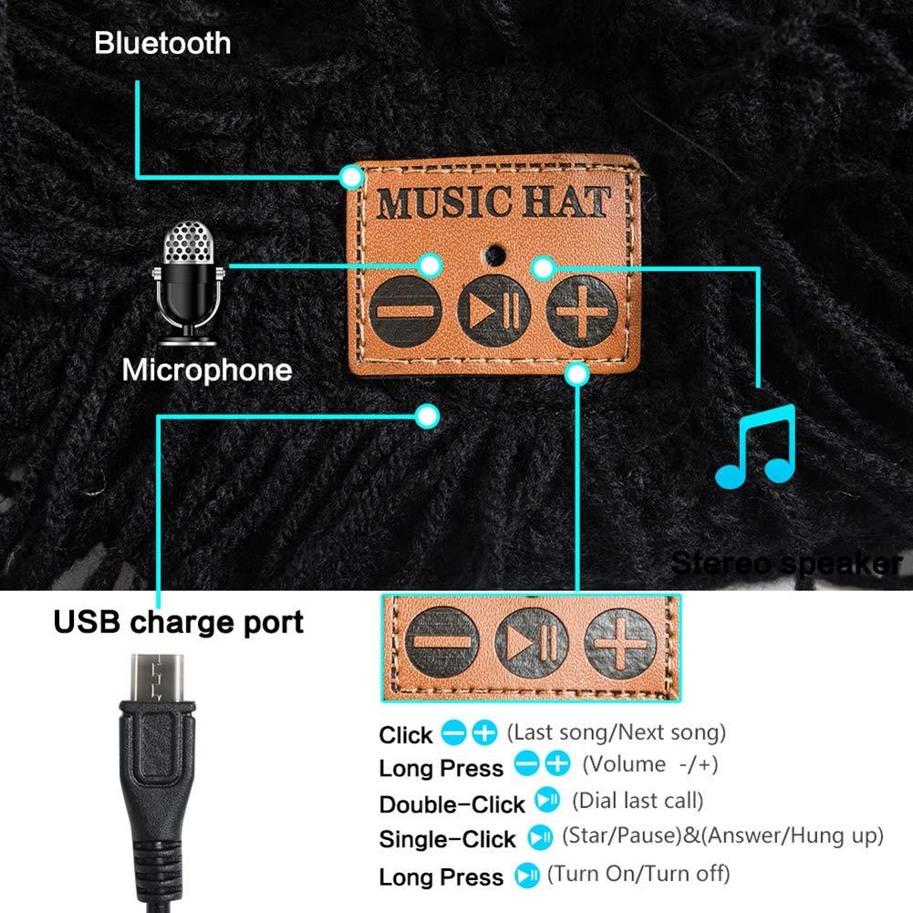 ink2055 Wireless Sport Outdoor Bluetooth Music Warm Winter Beanie Hat Cap with Microphone