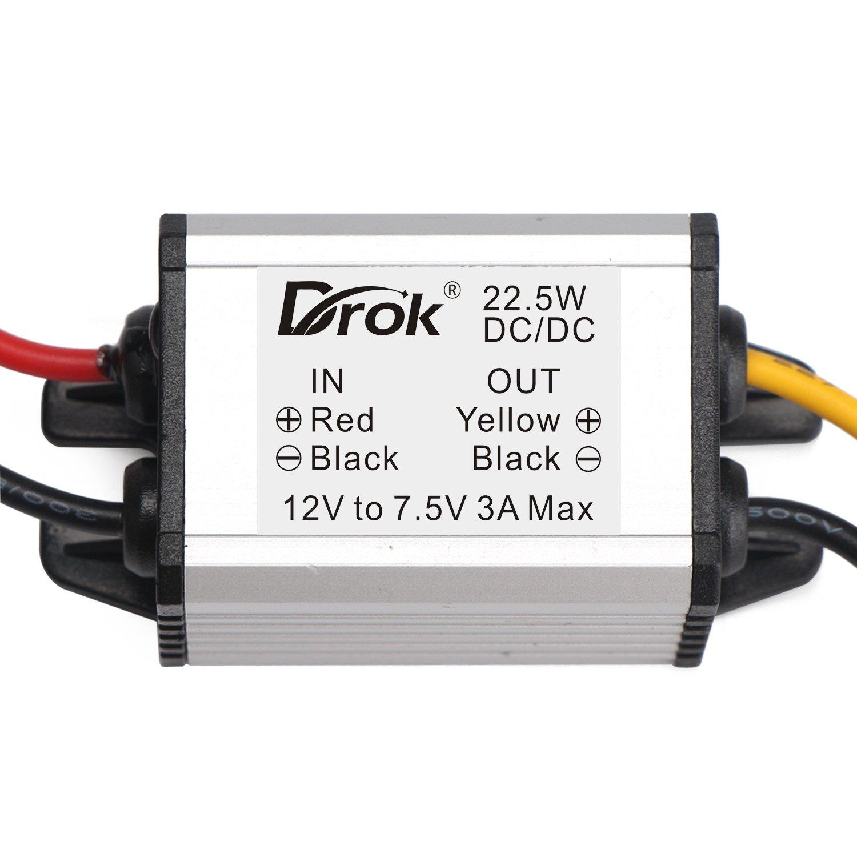DROK Buck Voltage Reducer Converter 12V to 7.5V 3A/22W Step-down Power Module DC/DC Voltage Transformer Regulator Power Supply Board for LED Display Radio by DROK (Image #4)