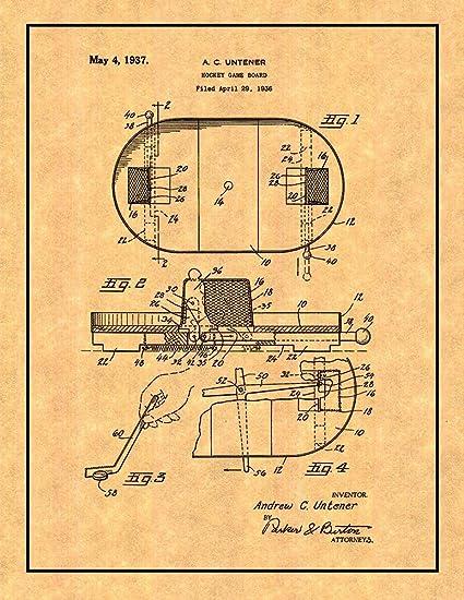 amazon com hockey game board patent print with border 8 5 x 11