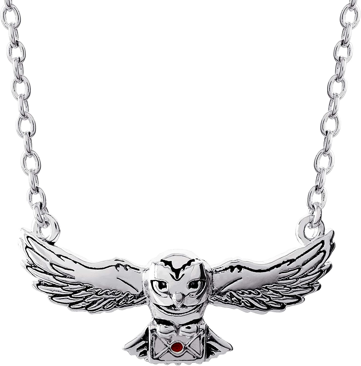 """Harry Potter Jewelry, Hedwig Silver Plated Pendant Necklace, 16"""" + 2"""" Extender Chain"""