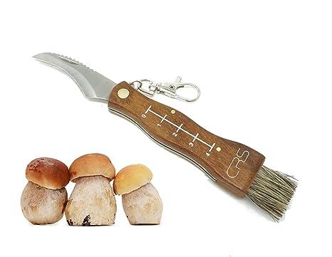 Cuchillo para setas de acero inoxidable con cepillo/pincel para limpiar, testado por la policía, incluye regla. Cuchillo para setas o navaja con hoja ...