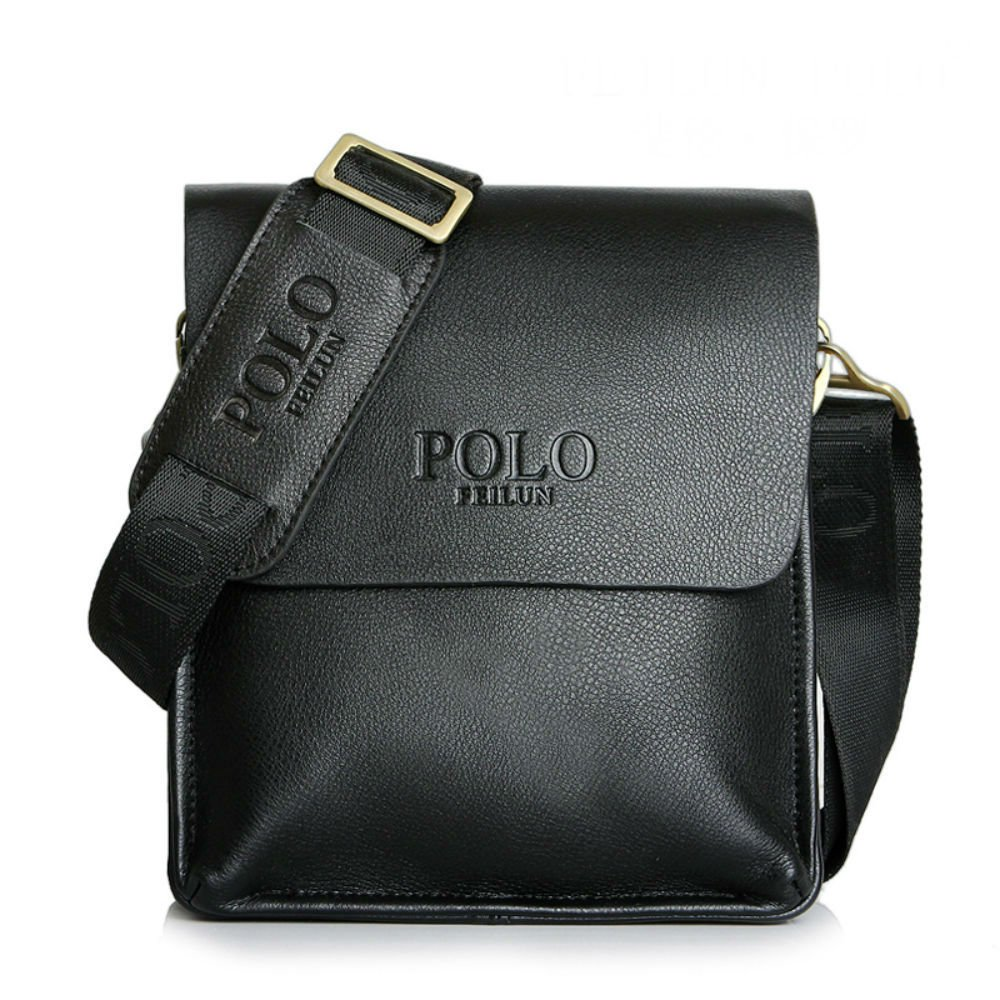 POLO FEILUN Mens Messenger Bags Classic Vintage Leather Shoulder Crossbody B