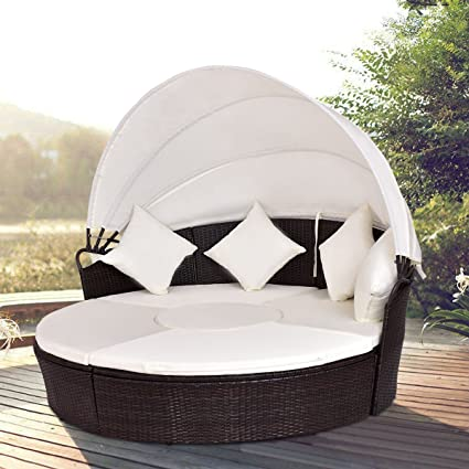 TANGKULA Patio Furniture Outdoor Lawn Backyard Poolside Garden Round with  Retractable Canopy Wicker Rattan Round Daybed - Amazon.com : TANGKULA Patio Furniture Outdoor Lawn Backyard Poolside