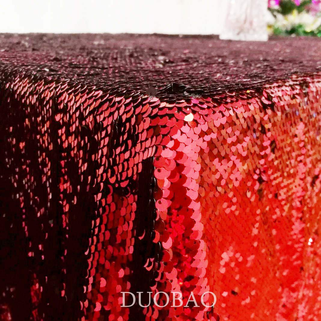 DUOBAO Sequin Tablecloth 60x84-Inch Black Mermaid Sequin Fabric Red to Black Glitter Tablecloth Reversible tablecloths for Rectangle Tables~0516 by DUOBAO (Image #3)