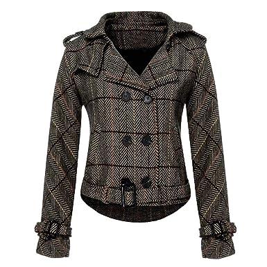 Dtuta Veste Courte à Manches Longues Manteau Hiver Femme Blouson Femme Coupe -Vent Manteau De Laine Style De La Mode  Amazon.fr  Vêtements et accessoires a5ed3b466184