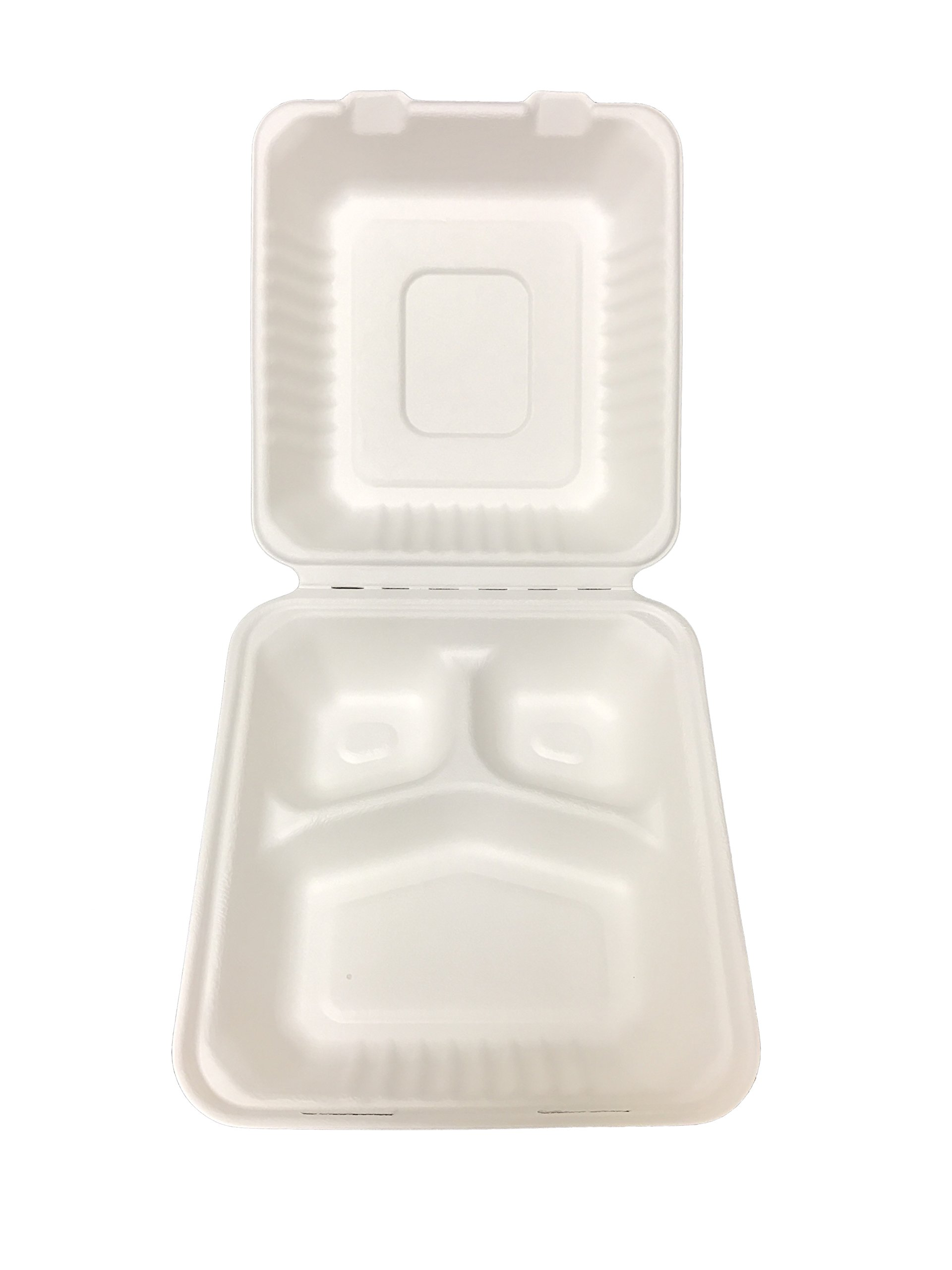 Primeware Bagasse Hinged Lid Container, Deep Medium 3-Section 7.875 x 8 x 3.19'' - 200/Cs (2 x 100), Not Applicable
