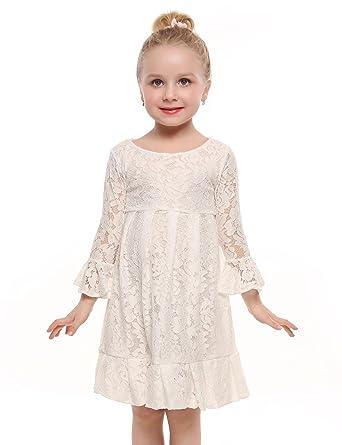 Cindere Mädchen kleid spitze, Cindere Kinder Lace O-Neck Langarm ...