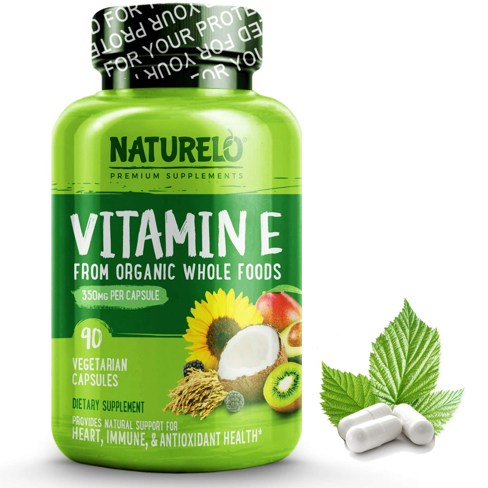 NATURELO Vitamin E - 350 mg (522 IU) of Natural Mixed Tocopherols from Organic Whole Foods - Best Supplement for Healthy Skin, Hair, Nails, Immunity, Eye Health - Non-GMO, Soy free - 90 Vegan Capsules by NATURELO