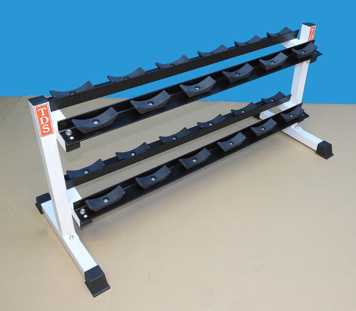 Heavy Duty Two Tier Dumbell Rack 52'' long with 24 Saddles
