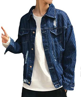 b8378c67589e Lutratocro Men Coat Washed Outwear Loose Fit Autumn Hole Jean Ripped Denim  Jacket at Amazon Men's Clothing store: