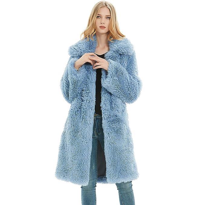 Amazon.com: Rvxigzvi Abrigo largo de piel sintética para ...