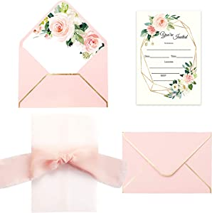 Doris Home 25pcs Fill in Invitations with Pink Rose Design, Pink Envelopes and Pink Ribbon for Wedding Bridal Shower Baby Shower Birthday Party