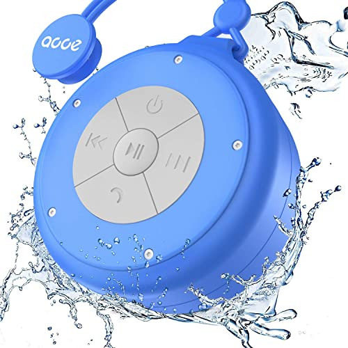 OJA Shower Speaker, Mini Wireless Waterproof Bluetooth Speaker, 5W Driver, Suction Cup, Portable Speakerphone, Built-in Mic, Hands-Free Calling Blue
