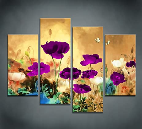 Amazon.com: Moyedecor Art - Blooming Poppies Extra Contemporary ...