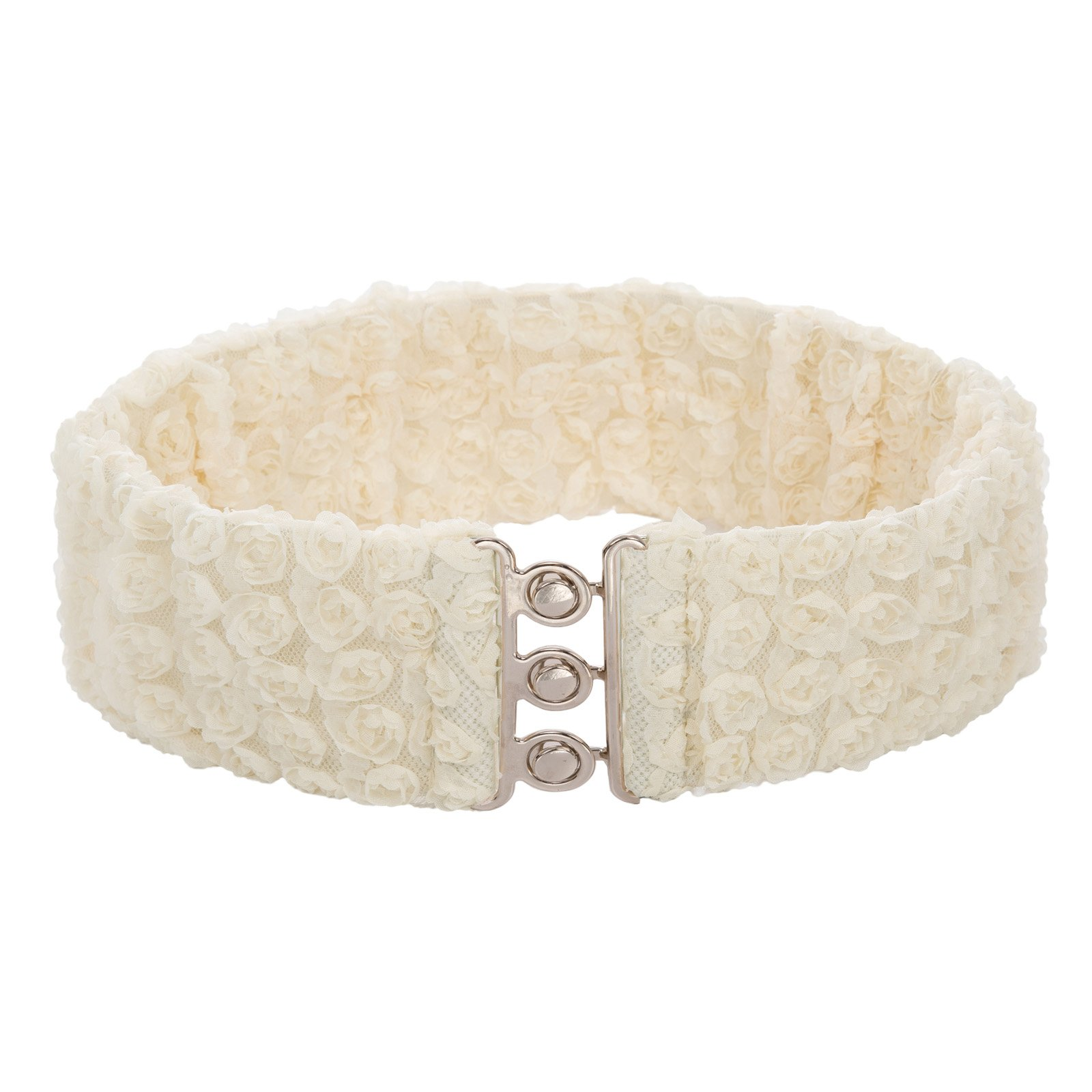 Women's Vintage Stretchy Wide Lace Elastic Cinch Belts Beige Size S CL758-1