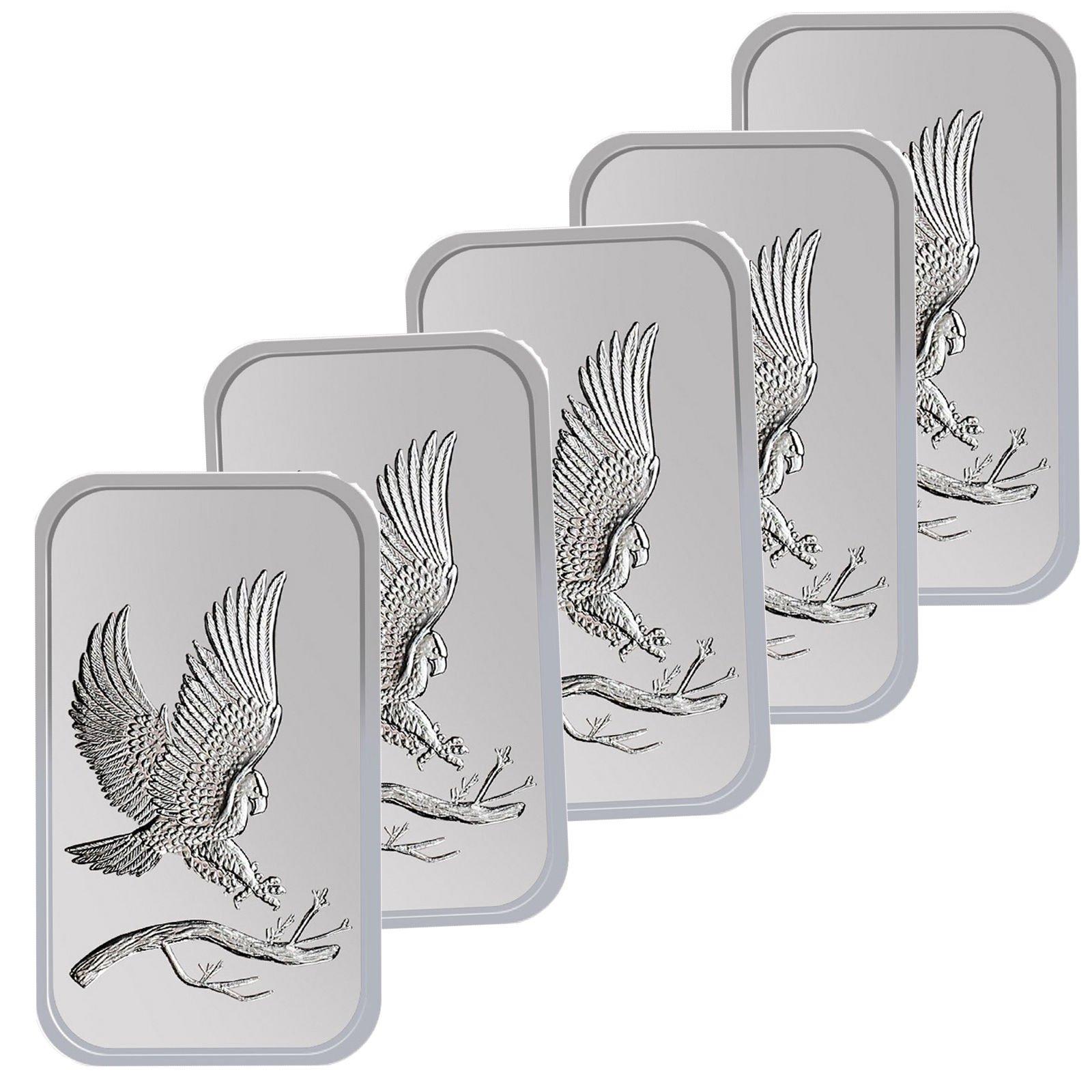 Trademark Bald Eagle 1oz .999 Fine Silver Bars by SilverTowne LOT OF 5